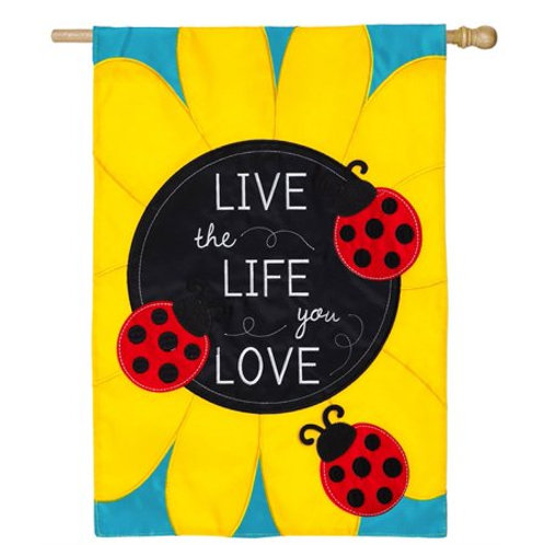 "**OPEN FLAG** Live The Life You Love 158642 Applique HOUSE Flag 28"" x 44"""