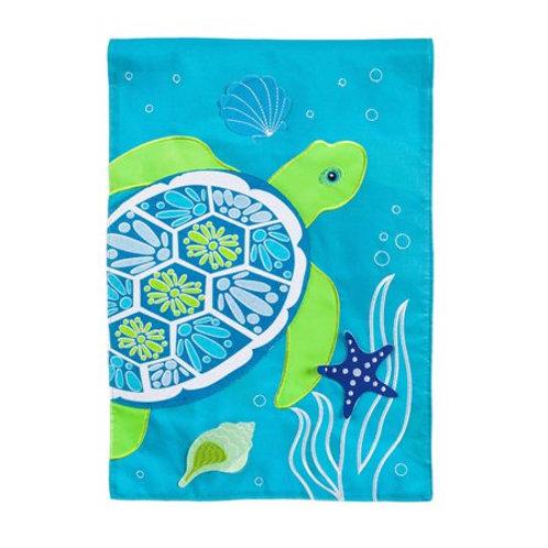 "**OPEN FLAG** Sea Turtle 158673 Evergreen Applique HOUSE Flag 28"" x 44"""