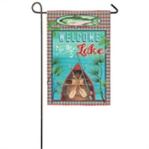 "Welcome to the Lake 14S4876 Evergreen Suede Garden Flag 12.5"" x 18"""