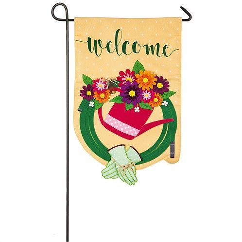 """Gardening Welcome 14L8564 Evergreen Linen Garden Flag 12.5"""" x 18"""""""
