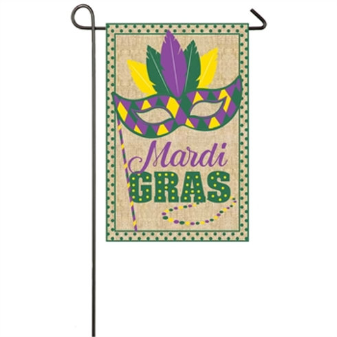 "Mardi Gras 14B4889 Evergreen Burlap Garden Flag 12.5"" x 18"""