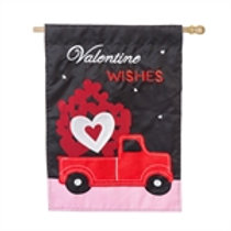 """**OPEN FLAG NO PACKAGING** Truckload of Hearts Applique HOUSE Flag 28"""" x 44"""""""