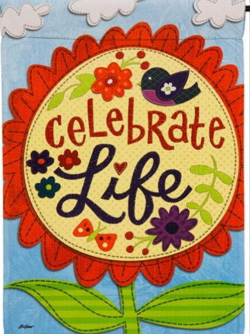 "Celebrate Life 14S4126 Evergreen Suede Garden Flag 12.5"" x 18"""