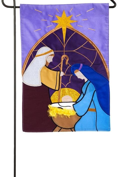 """Nativity 168704BL Evergreen Applique Garden Flag 12.5"""" x 18"""""""