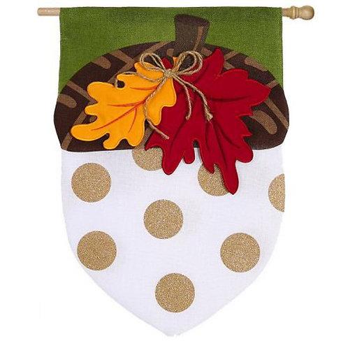 """Acorn 14B3473 Evergreen Burlap Garden Flag 12.5"""" x 18"""""""