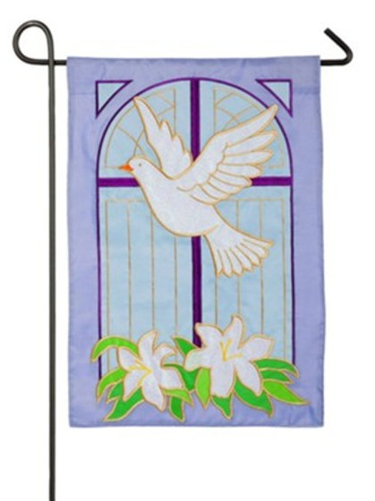 "Dove on Cross 168630BL Evergreen Applique Garden Flag 12.5"" x 18"""