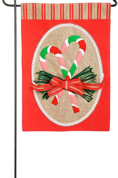 "Candy Cane 14B3870BL Evergreen  Burlap Garden Flag 12.5"" x 18"""