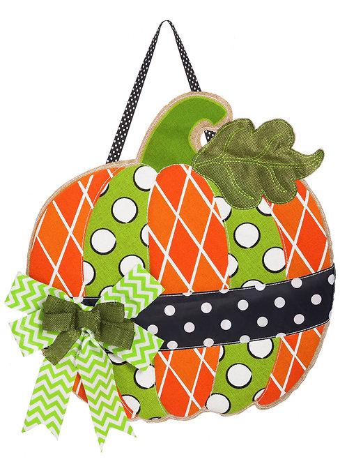 Pumpkin Burlap Door Décor 2DHB1073 Evergreen Door Hanger