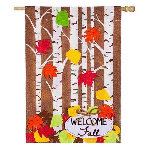 "**OPEN FLAG**  Autumn Birch 13B4483 Evergreen Burlap HOUSE Flag 28"" x 44"""