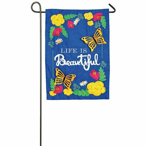 "Life is Beautiful 168647BL Evergreen Applique Garden Flag Spring 12.5"" x 18"""