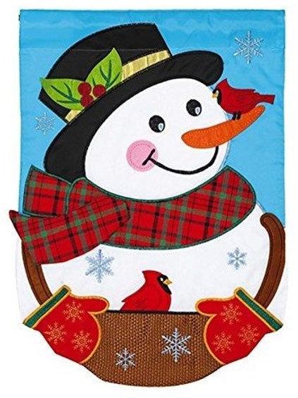 """**OPEN FLAG** Snowman 168844 Evergreen Applique Garden Flag 12.5"""" x 18"""""""