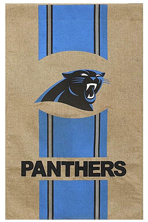 "**OPEN FLAG NO PACKAGING** NCAA Carolina Panthers Burlap HOUSE Flag 28"" x 44"""
