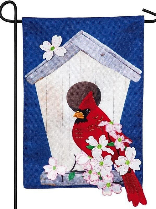 "*OPEN FLAG* Birdhouse Cardinal 14B8361BL Evergreen Burlap Garden Flag 12.5""x18"""