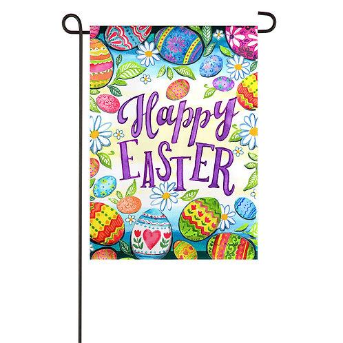 "Happy Easter Eggs 14ES9525 Evergreen Suede Garden Flag 12.5""W x 18""H"