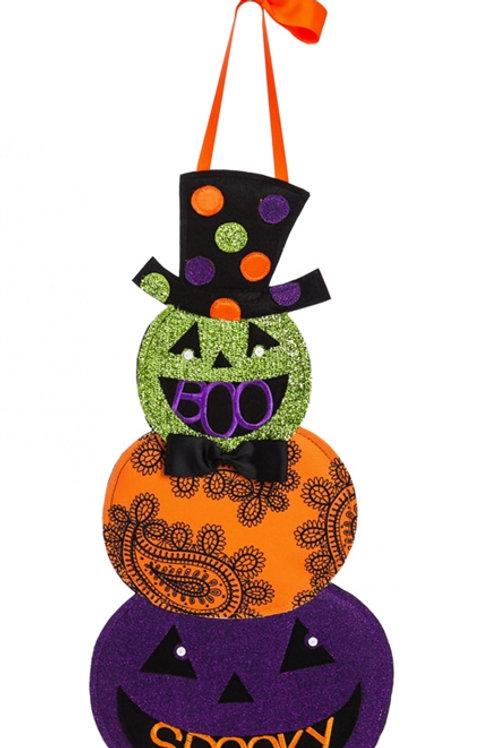 Tall Hat Jack-o-Lantern Felt Door Decor 2DHF1083BL Evergreen Door Hanger