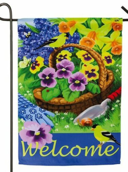 """Pansies for Planting 14S3708 Evergreen Suede Garden Flag 12.5"""" x 18"""""""