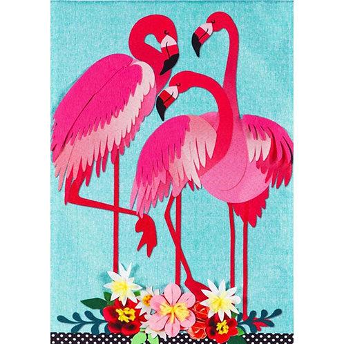 "*OPEN FLAG NO PACKAGING* Flamingo Garden 13L8502 Linen Flag HOUSE Flag 28"" x 44"""