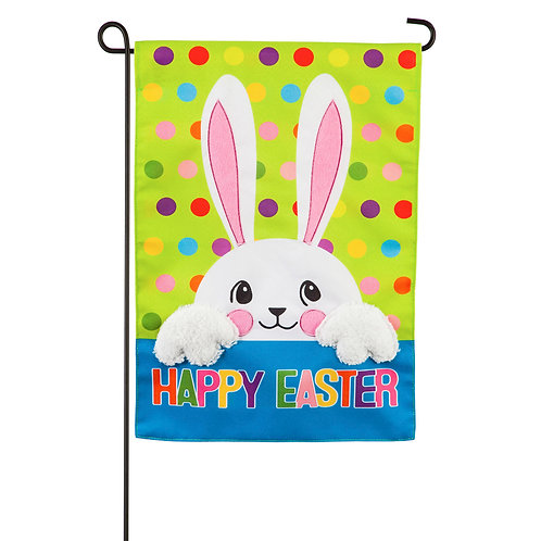 "Polka Dot Easter Bunny 14L9473 Evergreen Linen Garden  Flag 12.5"" x 18"""