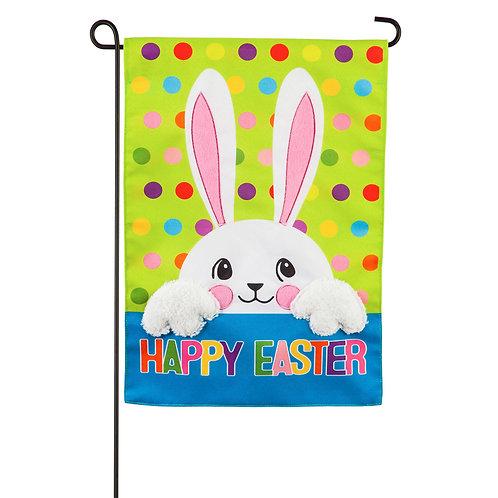 "Polka Dot Easter Bunny 14L9473 Evergreen Linen Garden  Flag 12.5"" x 18"""