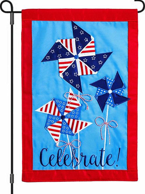 """**OPEN FLAG ** Patriotic Pinwheel Applique Garden Flag 12.5"""" x 18"""""""