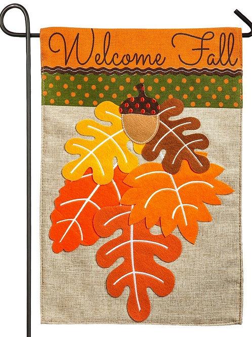 "**OPEN FLAG** Fall Leaves 13B3846 Evergreen Burlap HOUSE Flag 28"" x 44"""