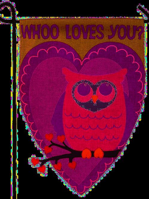 "Whoo Loves You 14B3577 Evergreen Burlap Garden Flag 12.5"" x 18"""
