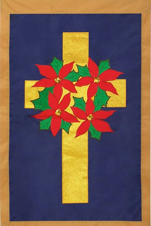 "Poinsettia Wreath on Cross 168284BL Evergreen Applique Garden Flag 12.5"" x 18"""