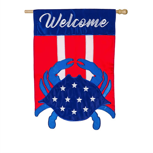"**OPEN FLAG NO PACKAGING** Americana Crab Welcome Applique HOUSE Flag 28"" x 44"""