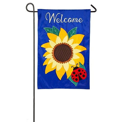 """Sunflower 168611BL Evergreen Applique Garden Flag 12.5"""" x 18"""""""