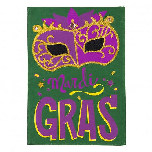 "Mardi Gras Mask 14B4022BL Evergreen Burlap Garden Flag 12.5"" x 18"""