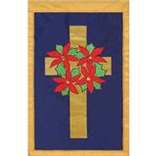 """**OPEN FLAG NO PACKAGING** Wreath on Cross Applique HOUSE Flag 28"""" x 44"""""""