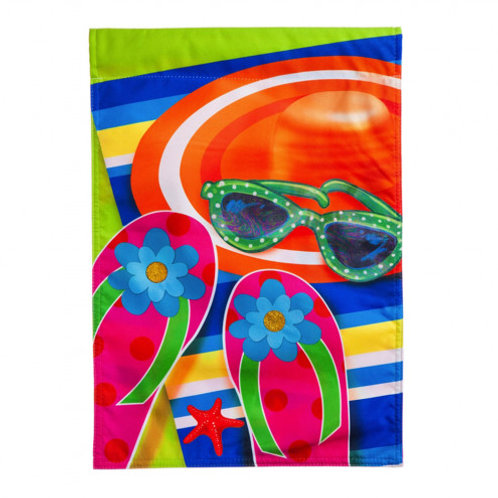 """**OPEN FLAG** Relaxing By The Water 14L4403BL Linen HOUSE Flag 28"""" x 44"""""""