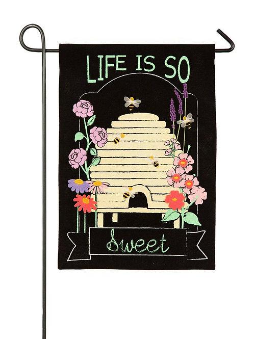 "Life is So Sweet 14B4034 Evergreen Burlap Garden Flag 12.5"" x 18"""