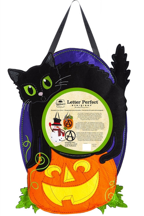 Jack O'Lantern Cat Door Decor 2DHB1074 Evergreen Door Hanger