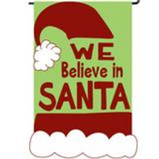 "We Believe in Santa 158314 Evergreen Applique HOUSE Flag 28"" x 44"""