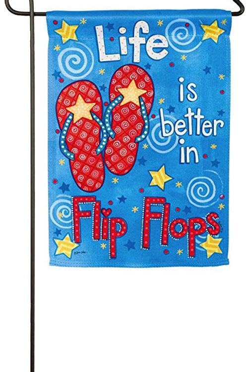 """Life is Better in Flip Flops 14S3598 Evergreen Suede Garden Flag 12.5"""" x 18"""""""