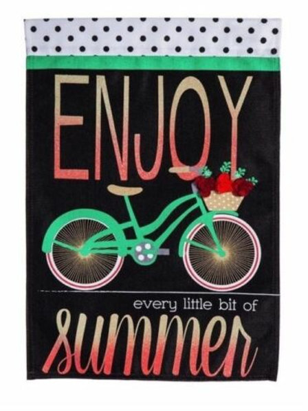"**OPEN FLAG** Summer Bicycle 13B4412BL Evergreen Burlap HOUSE Flag 28"" x 44"""