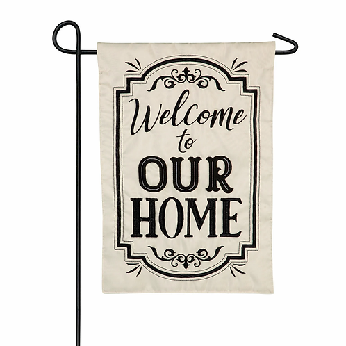 "Welcome to Our Home 169025 Evergreen Applique Garden Flag 12.5"" x 18"""