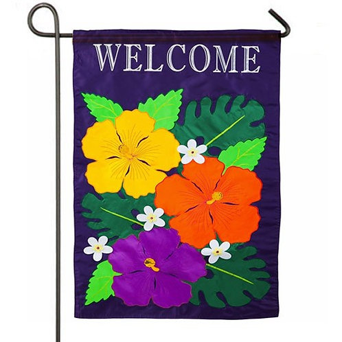 "Hibiscus 168665BL Evergreen Applique Garden Flag 12.5"" x 18"""