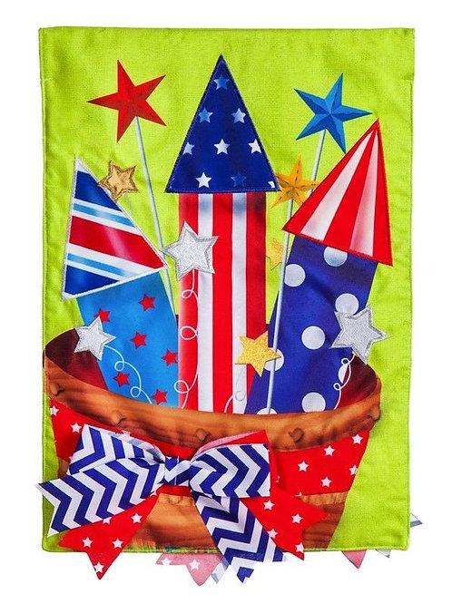 "**OPEN FLAG NO PACKAGING** Basket of Fireworks Burlap HOUSE Flag 28"" x 44"""