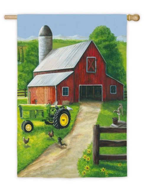 "**OPEN FLAG** Tractor in a Barn House 13A4170 Evergreen Satin HOUSE Flag 28""x44"""