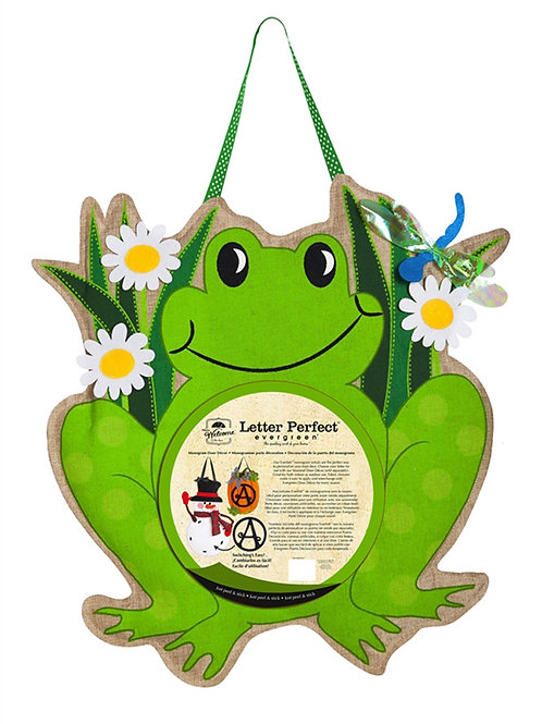 Frog Monogram Door Decor 2DHB1101 Evergreen Door Hanger