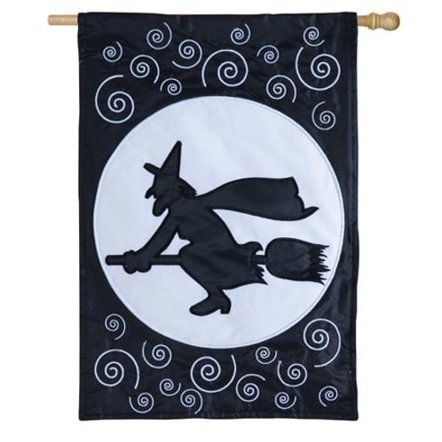 """Here Comes the Witch 15SL034 LIGHT-UP Evergreen Applique HOUSE Flag 28"""" x 44"""""""