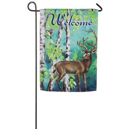 """Deer and Birch Tree 14S4751 Evergreen Suede Garden Flag 12.5"""" x 18"""""""