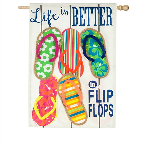 "Life Is Better In Flip Flops 13L4825 Evergreen Linen Flag HOUSE Flag 28"" x 44"""