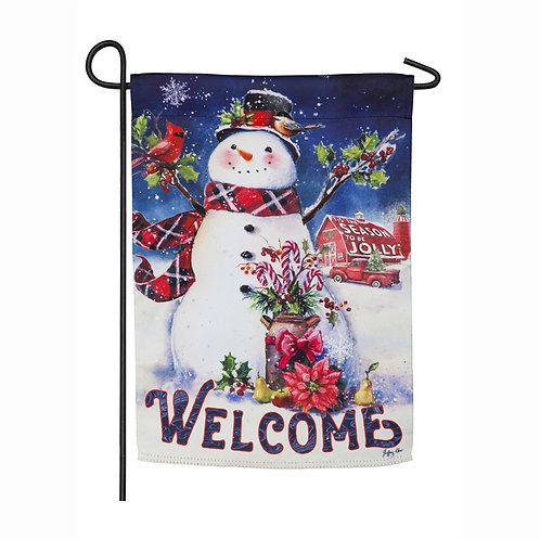 "Christmas Barn Snowman 14S8707 Evergreen Suede Garden Flag 12.5"" x 18"""