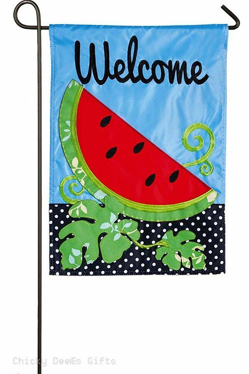 "Summer Watermelon 168503 Evergreen Applique Garden Flag 12.5"" x 18"""