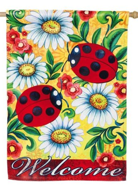 "Ladybugs and Daisy Scroll 13S3626BL Evergreen Suede HOUSE Flag 28"" x 44"""