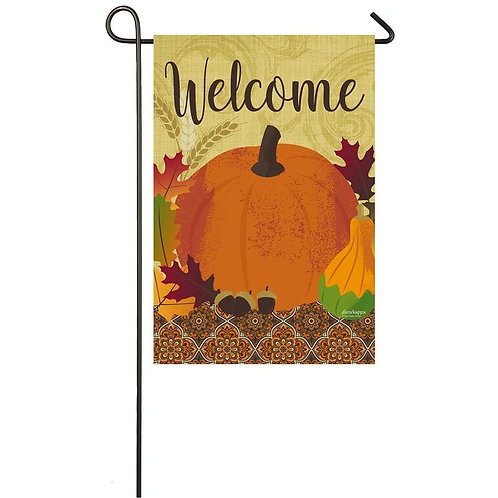 "Harvest Pumpkin Welcome 14S8204 Evergreen Suede Garden Flag 12.5"" x 18"""