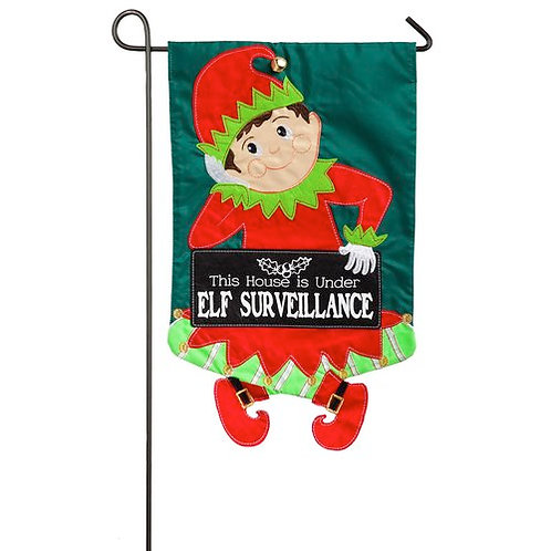 "Elf Surveillance 168569BL Evergreen Applique Garden Flag 12.5"" x 18"""